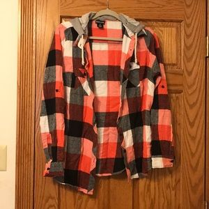 Wet Seal Hooded Pink and Gray Flannel